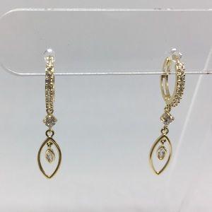 14k solid gold cz dangle hugging earrings